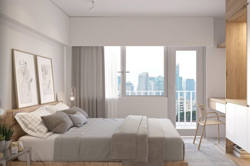 1BR end unit with Balcony Bedroom - Mint Residences